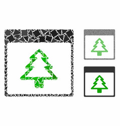 fir tree calendar page mosaic icon unequal vector image