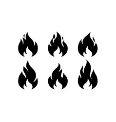 fire flame black white flame collection set vector image
