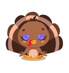 flat cute cartoon turkey meditation vector image