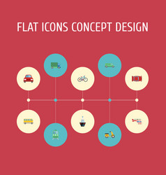 flat icons automobile chopper metro and other vector image