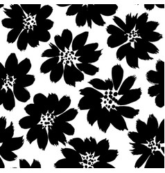 floral ink pen seamless pattern vector image