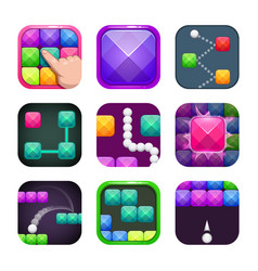Funny bright colorful square app icons set vector