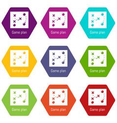 game plan icons set 9 vector image