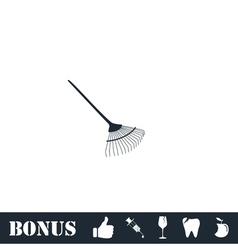 Gardening Rake icon flat vector image