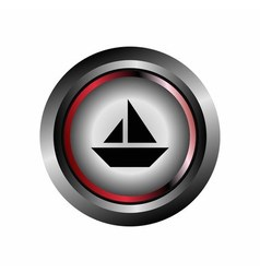 Glossy Sail Boat Sign Button vector