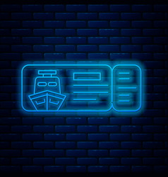 Glowing neon line cruise ticket for traveling by vector