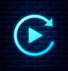 Glowing neon video play button like simple replay vector