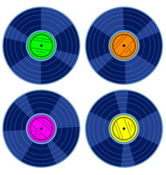 gramophone record disk set vector image