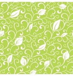 Green Swirl Branches Leaves Seamless vector