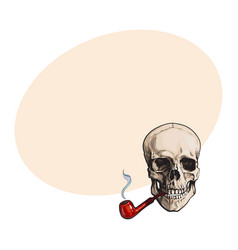 Hand drawn human skull smoking lacquered wooden vector