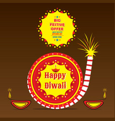 Happy diwali holiday of india poster design vector