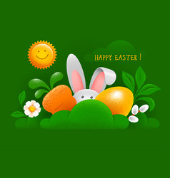 happy easter greeting card with easter bunny egg vector image