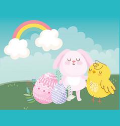 happy easter pink rabbit chicken eggs rainbow vector image