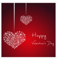 Happy valentine with hanging hearts from little vector