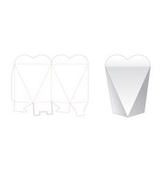 Heart shaped gift box die cut template vector