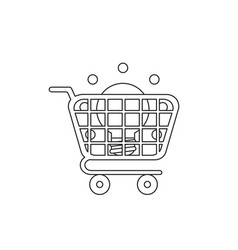 icon concept light bulb inside shopping cart vector image