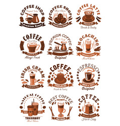 Icons coffeeshop of coffee cups or beans vector