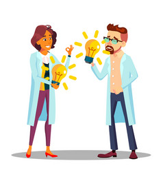 Inventor man woman scientist or business vector