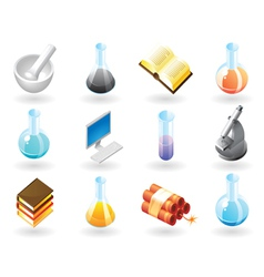 Isometric-style icons for chemistry vector