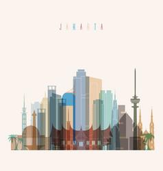 Jakarta skyline detailed silhouette vector