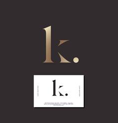 K letter monogram elegant gold business card vector