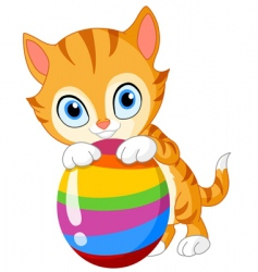 kitten with egg Easter vector image