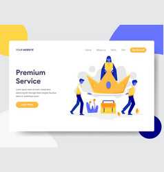 landing page template premium service concept vector image