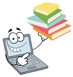 Laptop Guy Holding A Stack Of Books vector image