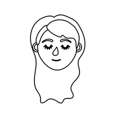 Line woman head with closed eyes and hairstyle vector