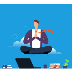 Man doing yoga and meditation businessman hanging vector