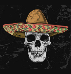 Mexican skull with sombrero on background vector