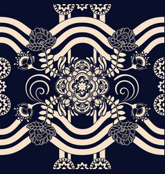 Monochrome seamless pattern ethnic motive vector