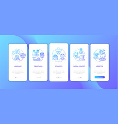 Multi cultural customs onboarding mobile app page vector