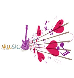 music background with notes and guitar vector image