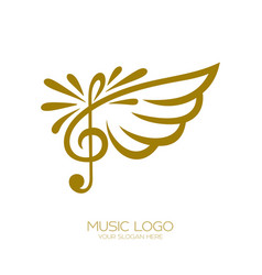 Music logo flying treble clef vector