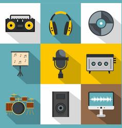 Music recording icon set flat style vector