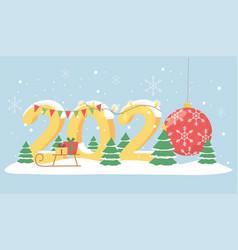 new year 2020 greeting card lights garland ball vector image