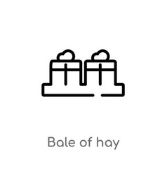 outline bale hay icon isolated black simple vector image