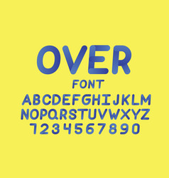 Over cursive font alphabet vector
