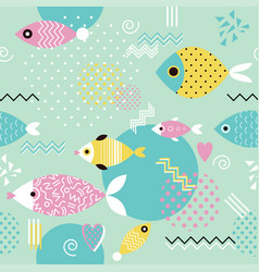 Pattern with geometric fish in memphis style vector
