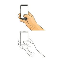 Phone in hand vector
