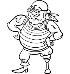 pirate cartoon for coloring book vector image