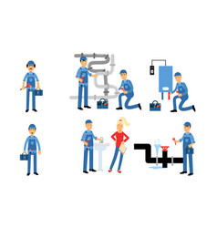 Plumbing emergency service fixes sink and pipes vector