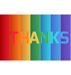 Rainbow thank you origami paper layer card vector