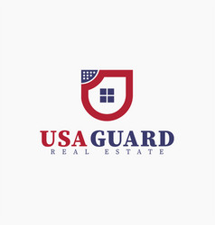 Real estate shield house initial letter u logo vector