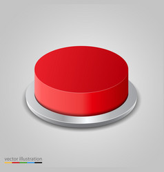 realistic red button on white background vector image