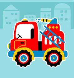 red fire truck cartoon in a street city vector image