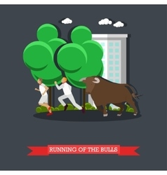 Running of the Bulls concept poster in flat vector