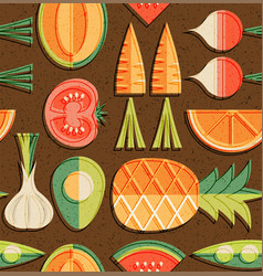 seamless mid century pattern fruits vegetables vector image