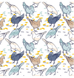 seamless pattern background pigeons hand drawn vector image